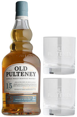 Old Pulteney, 15-year-old, Highland Single Malt Scotch & Glasses