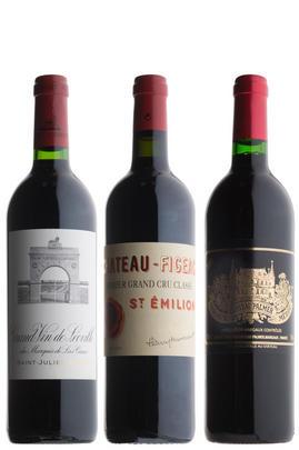 Mixed Bordeaux (2000 Las Cases, 2005 Palmer, 2010 Figeac), Three-bottle Assortment Case